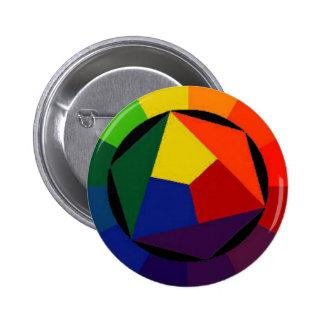 Regenbogen hell - homosexueller Symbol-Knopf Runder Button 5,7 Cm