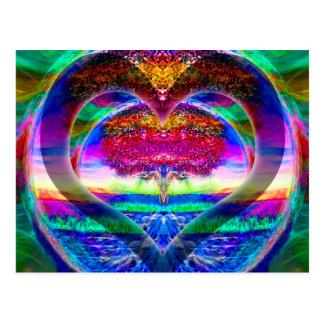 Regenbogen-Herz-Baum des Lebens Postkarte
