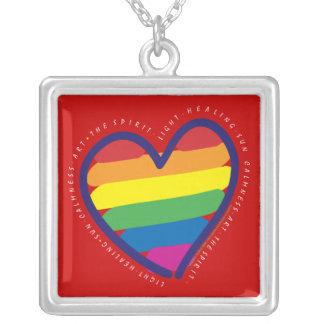 Regenbogen-Herz-Liebe-Gay Pride Versilberte Kette