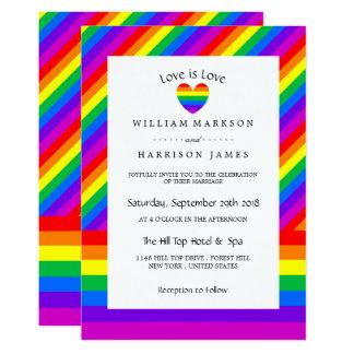 Regenbogen-Herz-Liebe ist Liebe Wedding Karte