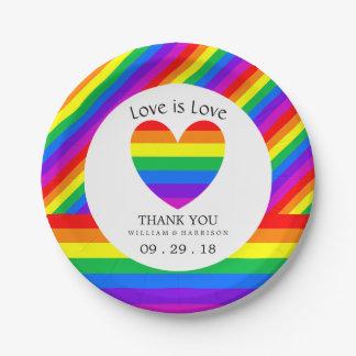 Regenbogen-Herz-Liebe ist Liebe Wedding Pappteller