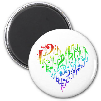 Regenbogen-Herz-Magnet-Weiß Runder Magnet 5,7 Cm