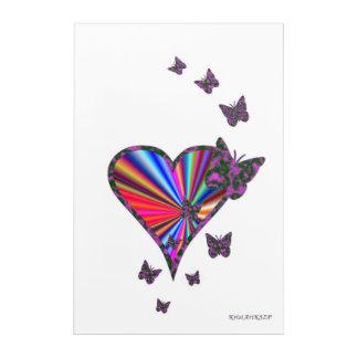 Regenbogen-Herz und Schmetterling Acryldruck