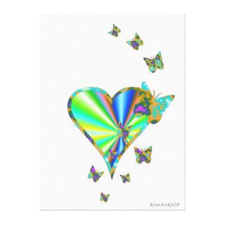 Regenbogen-Herz und Schmetterling Leinwanddruck