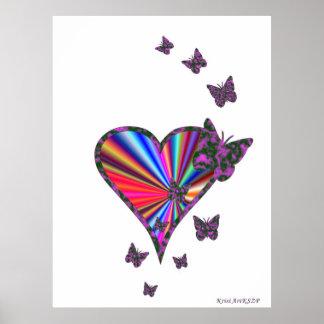 Regenbogen-Herz und Schmetterling Poster