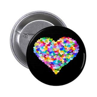 Regenbogen-HerzConfetti Runder Button 5,1 Cm