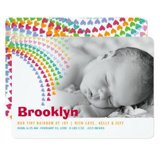 Regenbogen-Herzen besprüht Baby-Geburts-Mitteilung Karte
