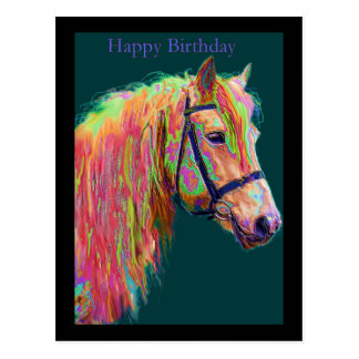 Regenbogen-Hochland-Pony Postkarte