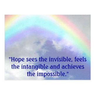 """Regenbogen, """"Hoffnung sieht das unsichtbare, Postkarte"""