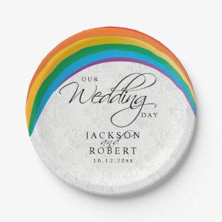 Regenbogen-Homosexuelles - unser Hochzeitstag Pappteller