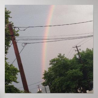 """Regenbogen in einem stürmischen Himmel-Plakat 14"""" Poster"""