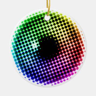 Regenbogen-Irisunicorn-Augen-Farbspektrum-Comic Keramik Ornament