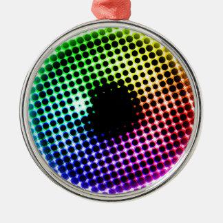 Regenbogen-Irisunicorn-Augen-Farbspektrum-Comic Silbernes Ornament