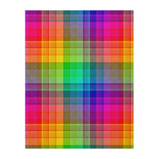 Regenbogen-karierte Hintergrund-Gewohnheit Holzdruck