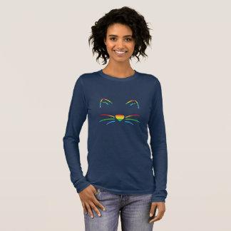 Regenbogen-Katzen-Bart-langer Hülsen-T - Shirt