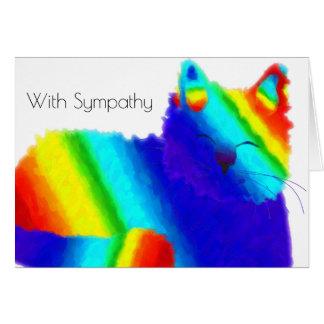 Regenbogen-Katzen-Haustier-Beileids-Karte Mitteilungskarte