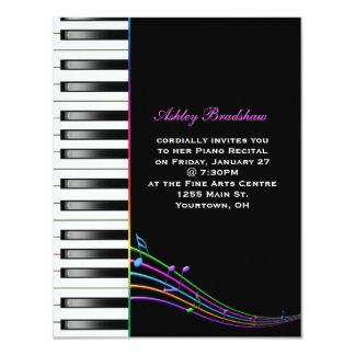 Regenbogen-Klavier-Erwägungsgrund 10,8 X 14 Cm Einladungskarte