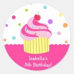 Regenbogen-Kuchen-Geburtstags-Bevorzugungs-Aufkleb Runde Sticker