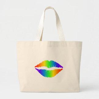 Regenbogen-Kuss, bunte Lippen Jumbo Stoffbeutel