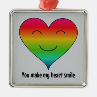 Regenbogen lassen Sie mein Herz lächeln Silbernes Ornament
