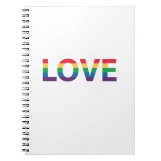 Regenbogen-Liebe-Buchstaben Spiral Notizblock