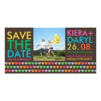 Regenbogen-Liebe-Herz-Save the Date Foto-Karte Bilderkarte