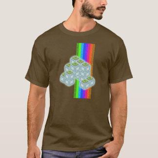 Regenbogen-Linien und Gras-Kästen T-Shirt