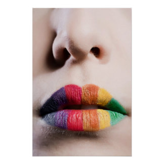 Regenbogen-Lippenplakat Poster