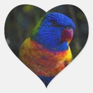 Regenbogen Lorikeet Herz-Aufkleber