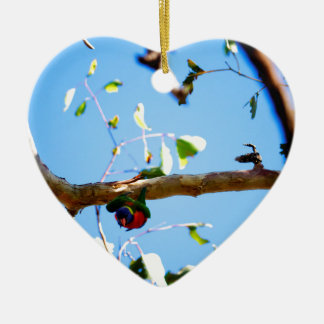 REGENBOGEN LORIKEET IM FLUG QUEENSLAND AUSTRALIEN KERAMIK Herz-Ornament