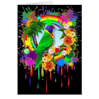 Regenbogen Lorikeet Papageien-Gruß-Karten Karte