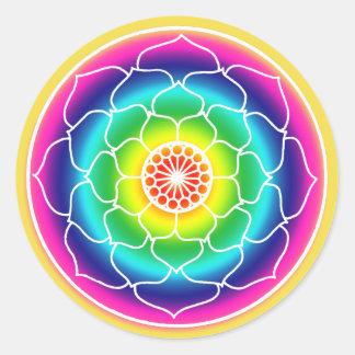 Regenbogen-Lotos-BlumeMandala Runder Aufkleber