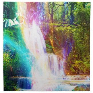 Regenbogen-Mädchen-Garten Stoffserviette