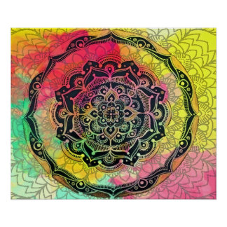 Regenbogen-Mandala Poster