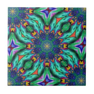 Regenbogen-Mandala-psychedelisches Kaleidoskop Fliese