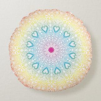 Regenbogen-Mandala Rundes Kissen