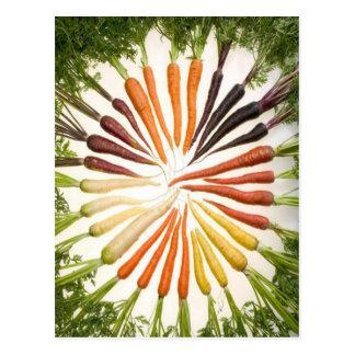 Regenbogen-mehrfarbige Karotten Postkarte