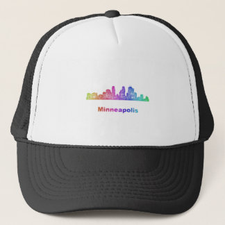 Regenbogen-Minneapolis-Skyline Truckerkappe