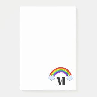Regenbogen mit Monogramm-Initiale 4 x 6 Post-it Klebezettel