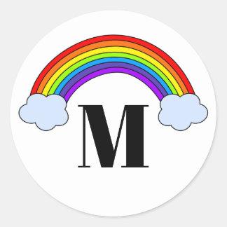 Regenbogen mit Monogramm-Initiale Runder Aufkleber