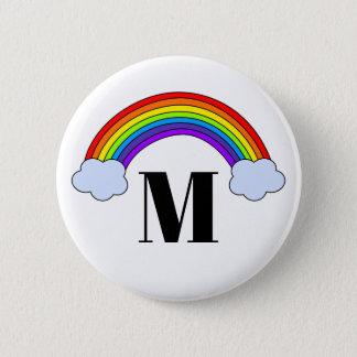 Regenbogen mit Monogramm-Initiale Runder Button 5,1 Cm