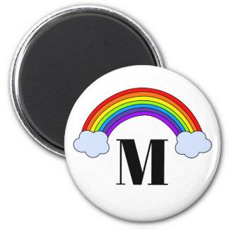 Regenbogen mit Monogramm-Initiale Runder Magnet 5,7 Cm