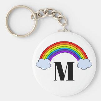 Regenbogen mit Monogramm-Initiale Schlüsselanhänger