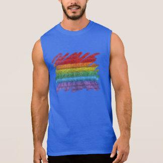 Regenbogen-Mosaik-Gay Pride-Flagge (Malerpinsel) Ärmelloses Shirt