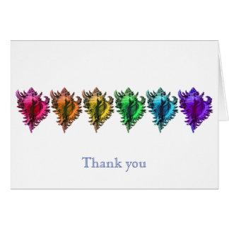 Regenbogen-Muscheln danken Ihnen Mitteilungskarten Karte