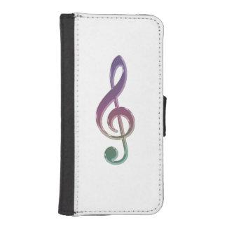 Regenbogen-MusikClef auf weißem iPhone SE/5/5s Geldbeutel Hülle