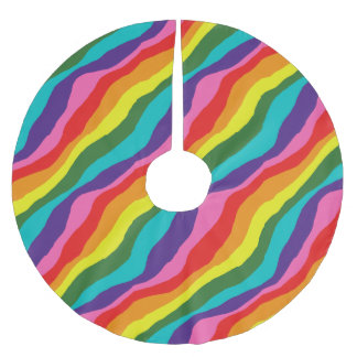 Regenbogen-Muster Polyester Weihnachtsbaumdecke