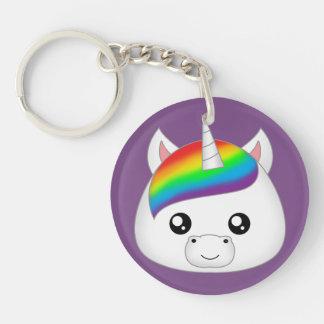 Regenbogen niedlicher Kawaii Unicorn-Gesichts-Kopf Schlüsselanhänger