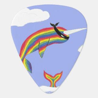 Regenbogen Ninja Narwhal, der fliegt Plektrum