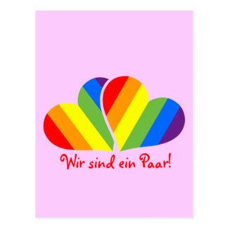 Regenbogen-Paare Postkarte